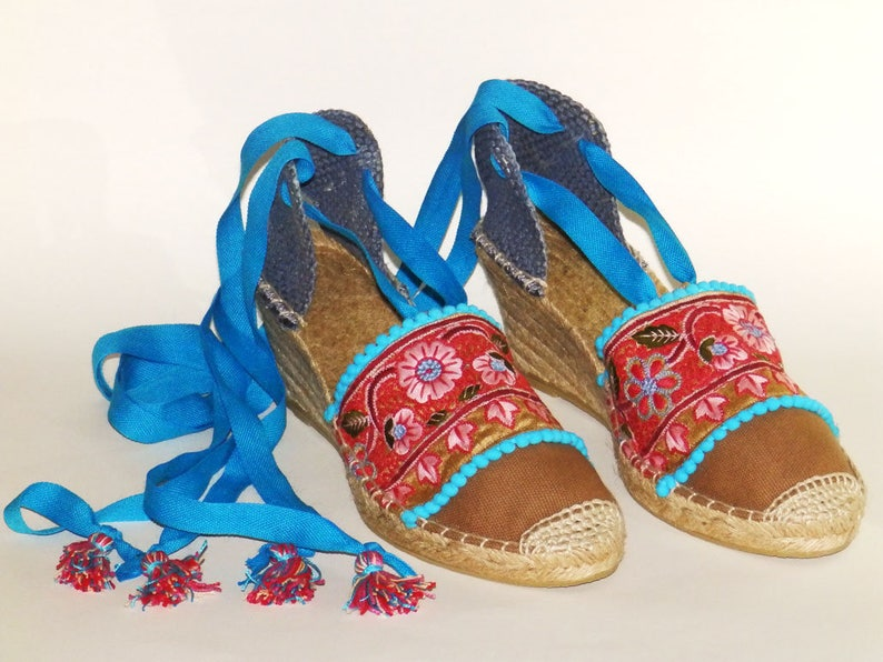 f622b3a3645 Lace up wedge espadrilles decorated with flower embroidery Hight Wedge  Organic cotton Alpargatas made in Spain