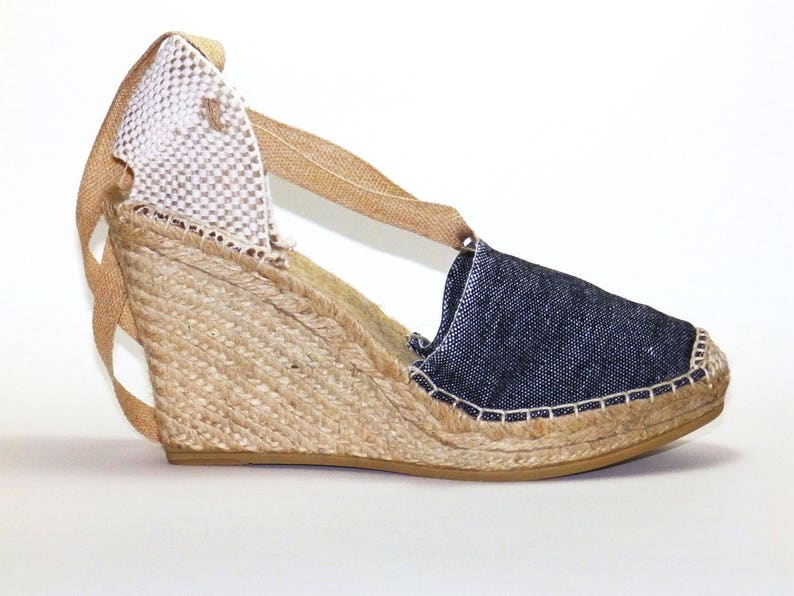 c3a3db7701c High wedge lace up denim espadrilles Organic cotton
