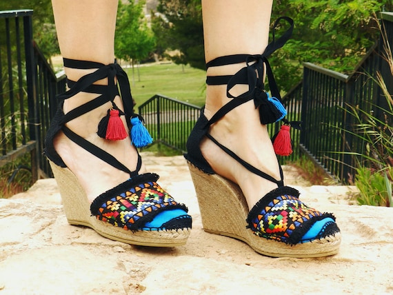 e825e618655 Espadrilles Hight Wedge with ethnic embroidery. Alpargatas