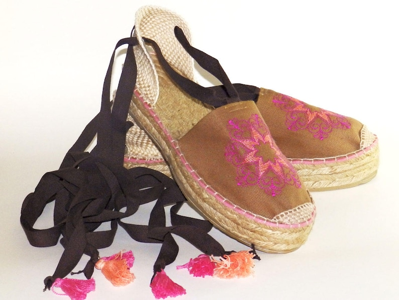 bb2961d4cdc Brown espadrilles with embroidery MANDALA. Organic cotton. Alpargatas made  in Spain