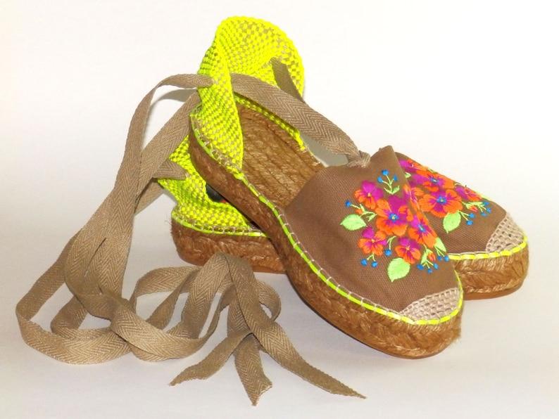 d69fde62ce3 Platform espadrilles Flowers embroidery Organic cotton Alpargatas made in  Spain
