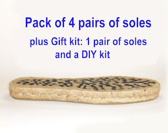 Pack of 4 pairs of espadrille platform soles. SIZE 40EU. + Gift: 1 pair of soles and DIY kit