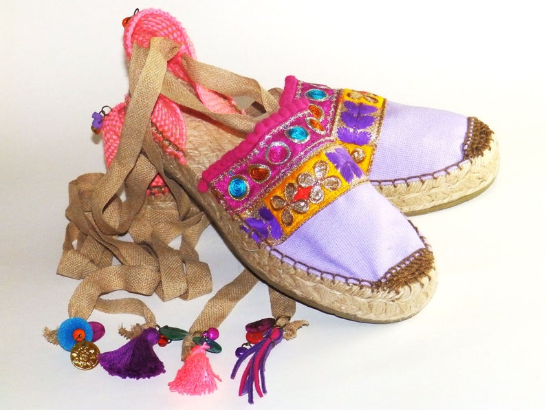 46fc9239412 Platform purple espadrilles with multicolor embroidery. Organic cotton.  Alpargatas made in Spain