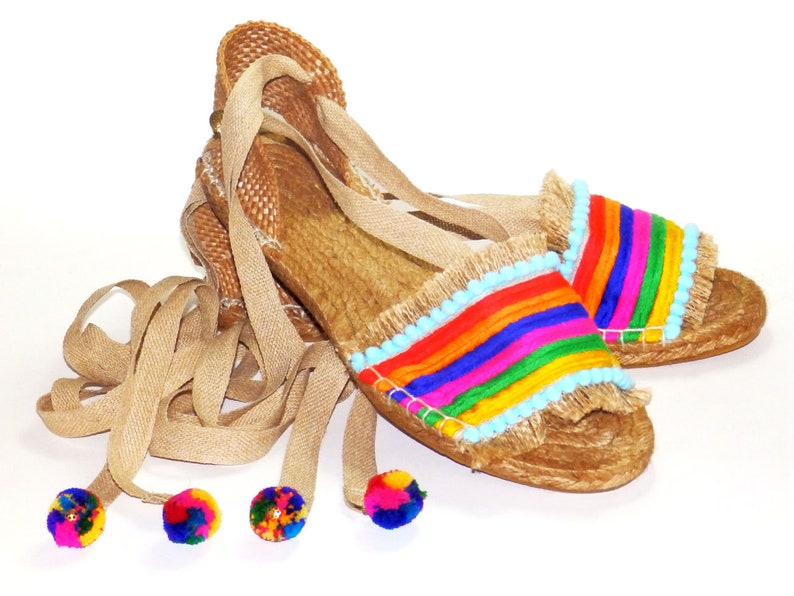 cecf2556d38 Rainbow flat espadrilles sandals made of jute fabric and
