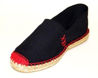 Black Espadrilles sewn with Red thread. Organic cotton. Alpargatas Made in Spain