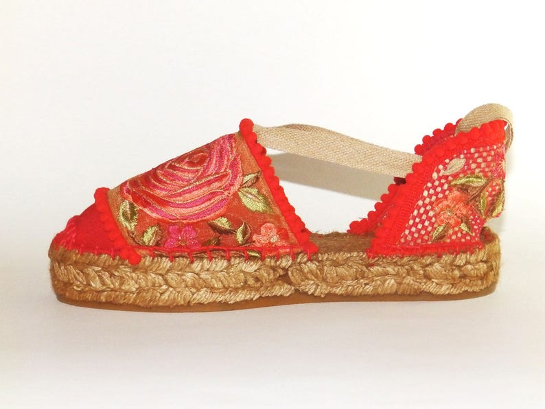 af08825e359 Lace up platform espadrilles with Flower embroidery. Organic cotton.  Alpargatas made in Spain