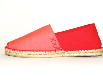 Red flat espadrilles. Organic cotton. Made in Spain