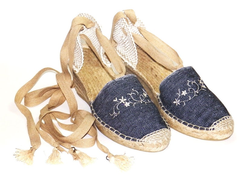 2d11543a7cd High wedge 2.7 inch lace up vegan espadrilles Denim Organic