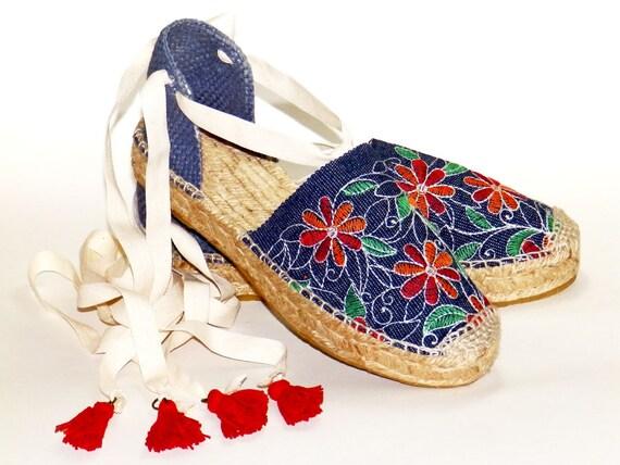 8bafb49777a Denim Platform Espadrilles with Floral Embroidery. Organic cotton.  Alpargatas Made in Spain