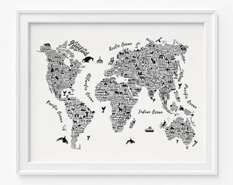 Typography world map etsy typography map poster world map print typography world map world map poster 2 typography map print home decor room decor christmas gumiabroncs Choice Image