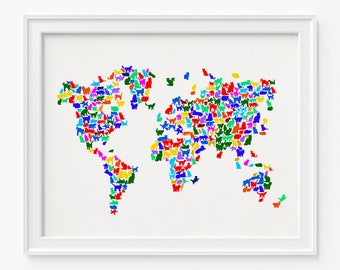 Cat world map etsy cat world map print cats world map world map poster 2 animal print gift for him animal map nursery decor gift for him gumiabroncs Choice Image