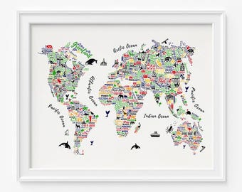 World map print etsy world map print typography map poster typography world map world map poster 1 typography print home decor room decor gift for her gumiabroncs Choice Image