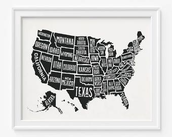 Us map poster | Etsy