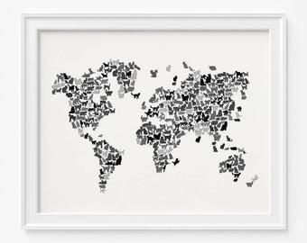 Cat world map etsy popular items for cat world map gumiabroncs Choice Image