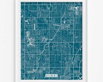 Gilbert Print, Arizona Poster, Gilbert Map, Arizona Print, Gilbert Poster, Arizona Map, Street Map, Map Decor, Fathers Day Gift
