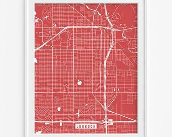 Lubbock Print, Texas Poster, Lubbock Poster, Lubbock Map, Texas Print, Street Map, Texas Map, Map Print, Fathers Day Gift
