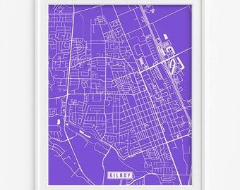 Gilroy art print map Etsy