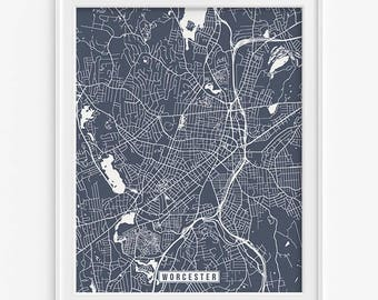 Worcester Print, Massachusetts Poster, Worcester Poster, Worcester Map, Massachusetts Print, Street Map, Fathers Day Gift