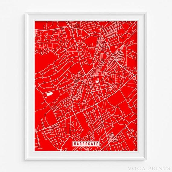 Harrogate England Map.Harrogate Print England Poster Harrogate Map Harrogate Etsy