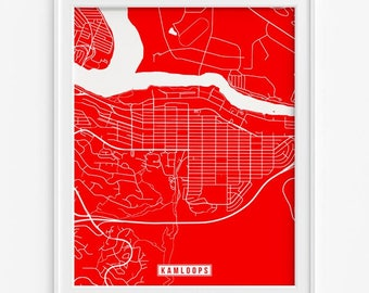Kamloops Map, Canada Poster, Kamloops Print, Kamloops Poster, Canada Print, Canada Map, British Columbia, Street Map, Fathers Day Gift
