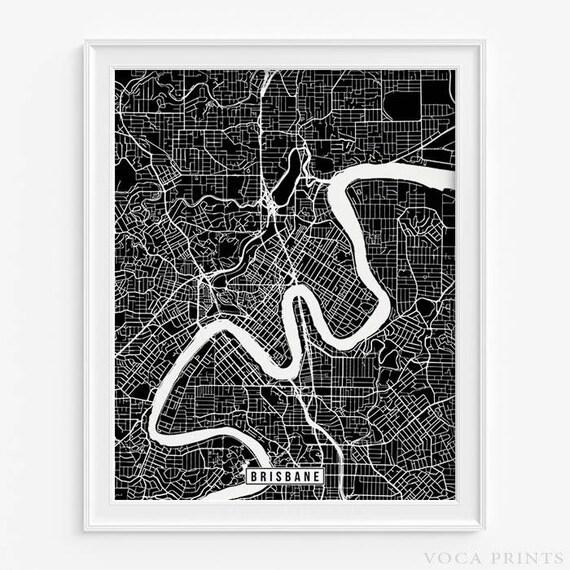 Brisbane print australia map brisbane poster brisbane map