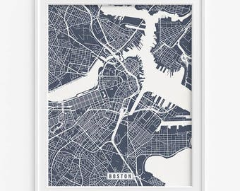 Boston Map, Massachusetts Poster, Boston Print, Massachusetts Print, Boston Print, Massachusetts Map, Street Map, Fathers Day Gift