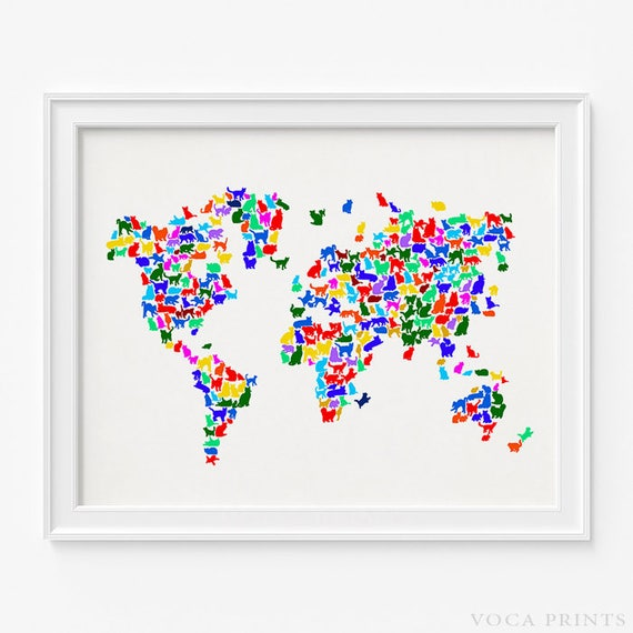 Cat world map print cats world map world map poster 2 etsy image 0 gumiabroncs Images
