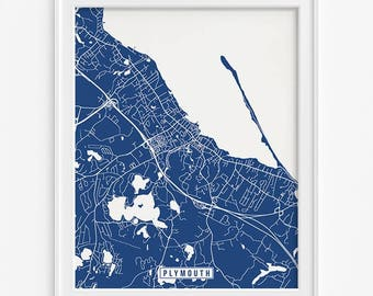 Plymouth Print, Massachusetts Poster, Plymouth Poster, Plymouth Map, Massachusetts Print, Street Map, Massachusetts Map, Fathers Day Gift