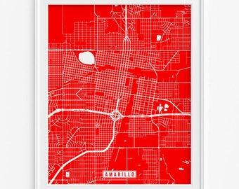Amarillo Print, Texas Poster, Amarillo Map, Amarillo Poster, Texas Map, Texas Print, Street Map, Livingroom Decor, Fathers Day Gift