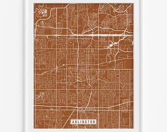 Arlington Print, Texas Poster, Arlington Poster, Arlington Map, Texas Print, Texas Map, Street Map, Office Decor, Fathers Day