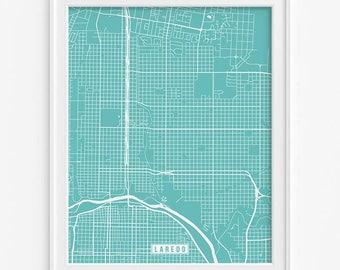 Laredo Poster, Texas Poster, Laredo Print, Laredo Map, Texas Print, Texas Map, Webb County, TX, Street Map, Fathers Day Gift