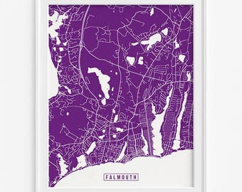 Falmouth Print, Massachusetts Poster, Falmouth Map, Falmouth Poster, Massachusetts Print, Massachusetts Map, Street Map, Fathers Day Gift