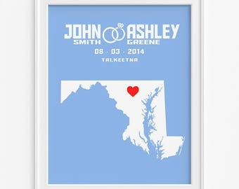 Maryland Map Print, Wedding Print, Anniversary Gift, Custom Art, Wall Decor, Newly Wed Decor, Home Decor, Fathers Day