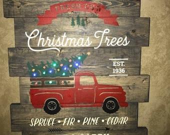 Rustic Christmas Tree Wood Sign - LIGHT UP!
