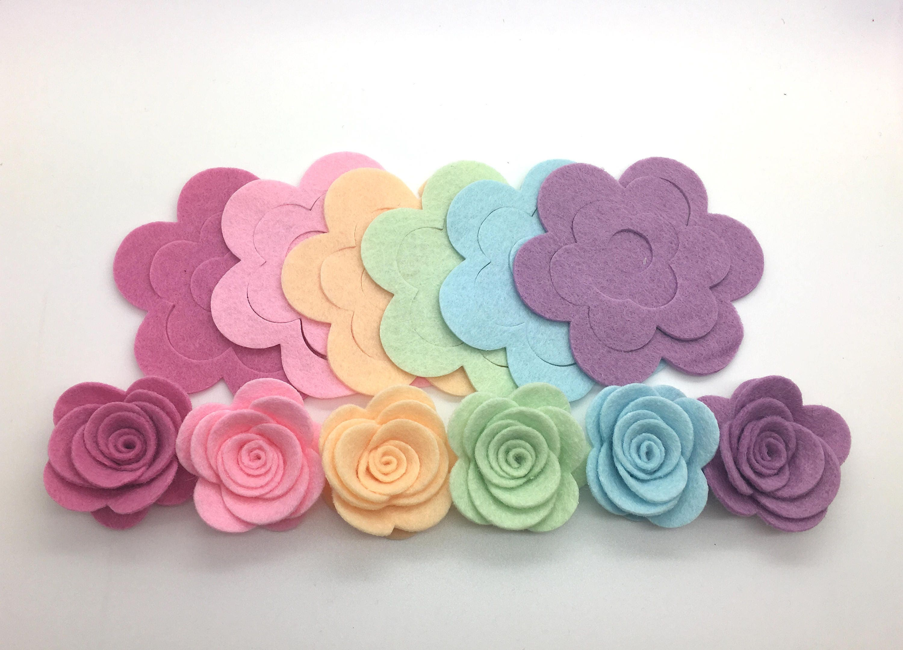 6pcs Rainbow Felt Rose Flowers Easter Felt Flowers Diy Felt Flower Die Cut Felt Flower Felt Flowers