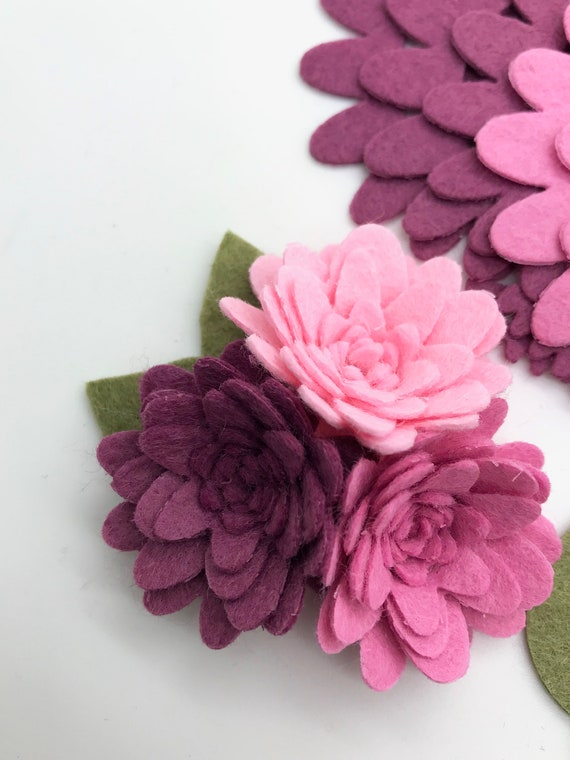15 Pcs Wool Felt Flowers Set Diy Felt Flower Die Cut Felt Flower Fall Felt Flowers Set