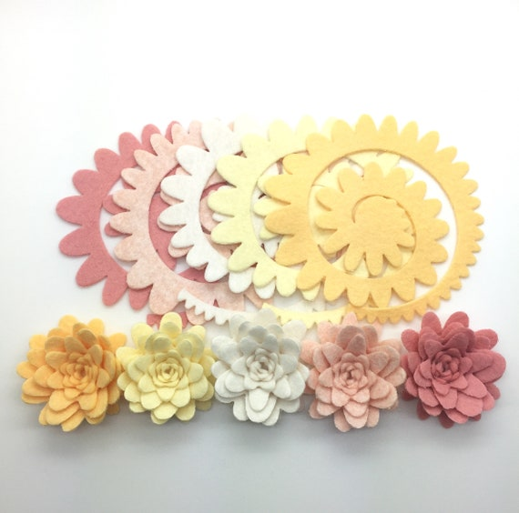 5pcs Wool Felt Flowers Set Diy Felt Flower Die Cut Felt Flower Fall Felt Flowers Set