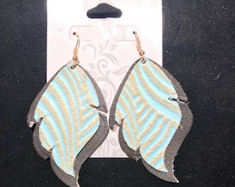 Brown and Gold Teal Leaf Shaped Earrings
