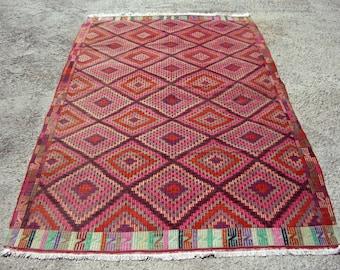 "Pink Kilim Rug, Vintage Turkish Kilim Rug, Kelim Rug, 113,0"" x 67,7"" Kilim Rug, Area Rug, Turkish Rug, Vintage Rug, Bohemian Rug, Rug, Rugs"