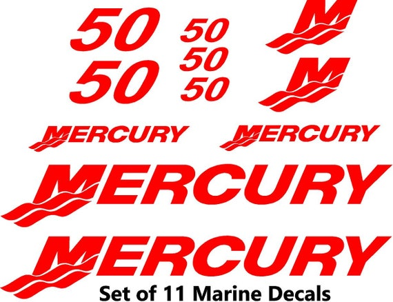"""Pair Mercury Outboards Red Decal 12/"""" Stickers"""