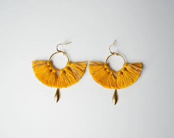 Phoenix earrings mustard