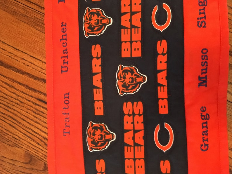 Embroidered and Quilted Table Runner Chicago Bears Hall of Fame
