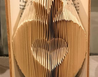 Vintage Folded Apple with Heart Book Art