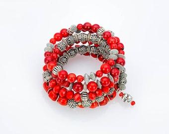 Bracelet, bracelet, bangle, wrap bracelet, multi-row, memory wire, bracelet, gift, charms bracelet, pendant, bohemian, ethnic, yoga