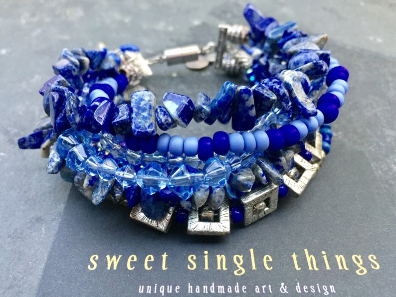 fresh bracelet Tibetan-silver Tibetan-Beads blue sea water blue Rocailles multi-strand jewelry makers elegant multi-row silver