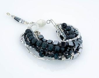 bracelet, multi-row, multi-strand, Lava beads, Hämatit, black, silver, grey, Tibetan Beads, Onyx, Labradorit, Rocailles, Motherday, Ibiza
