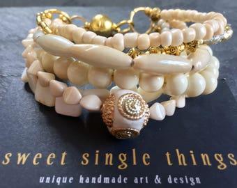 Bracelet, bracelet, bracelet, multirow, multi-row, white, cream, champagne, Kashmiriperlen, wedding, wedding, Christmas, Xmas, gift