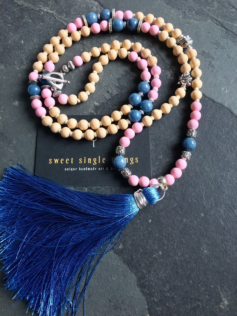 beaded necklace necklace with pendant mala style gift necklace yoga style tassel necklace bohemian Begging necklace charms necklace necklace