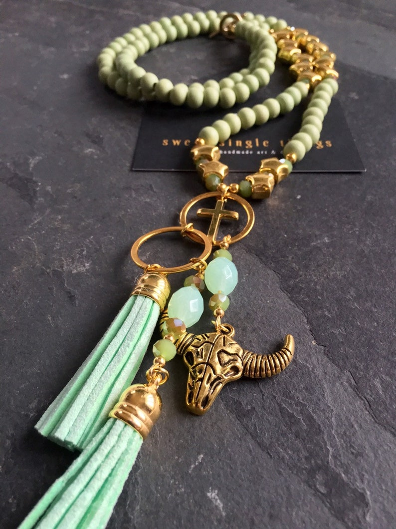 Begging Necklace pastel mint tassel necklace Charm necklace gift Pearl necklace with Pendant gold buffalo head Mala Mala-style charm Venom