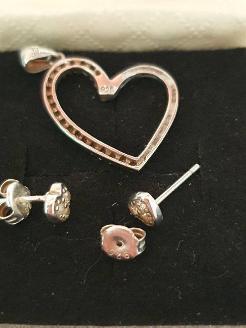 heart jewelry ring vintage pendant sterling silver 925 Love heart set wife present stud earrings gift for girlfriend